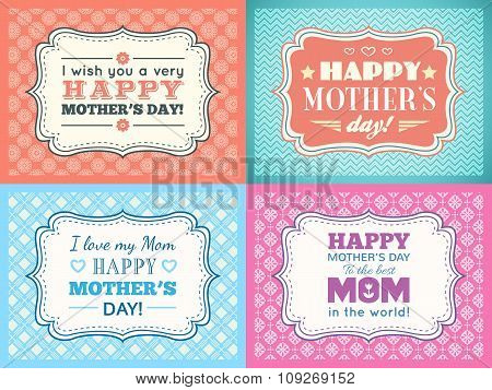 Happy Mothers day card set. Typography letter font type