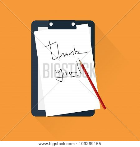 Red Pencil On A Piece Of White Paper With Hand Writing Words Thank You. Vector Illustraion In Flat D