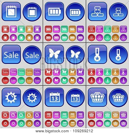 Notebook, Battery, Network, Sale, Butterfly, Medal, Gear, Calendar, Basket. A Large Set Of Multi-