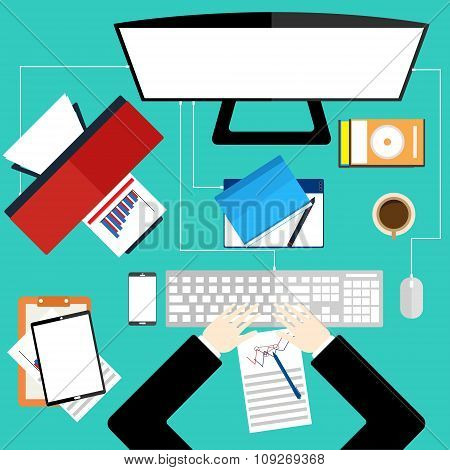 Working On Computer In Workplace Business Office. Top View Of Hand On Green Desk Background With Pri