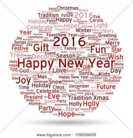 Vector Concept or conceptual red Happy New Year 2016 Christmas abstract holiday word cloud isolated on background