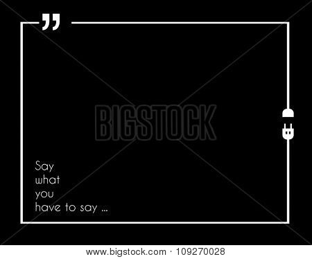 Quotation Mark Frame with Flat style and space for text. Modern template layout for phrases citation, famous quotations, ideas, advertising, printed material and so on.