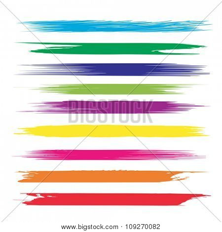 Vector large collection or set of artistic colorful multicolored paint hand made creative brush strokes isolated on white background