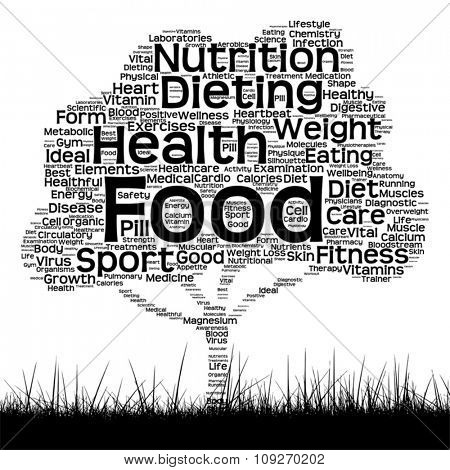 Vector concept or conceptual black health text word cloud as tree and grass isolated on white background