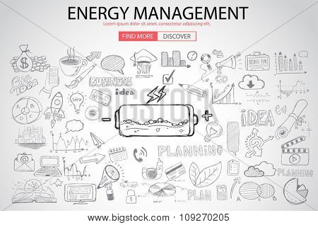 Energy management with Doodle design style :power savings, optimization process, creative thinking. Modern style illustration for web banners, brochure and flyers.