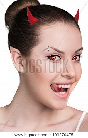 Woman with vampire fangs