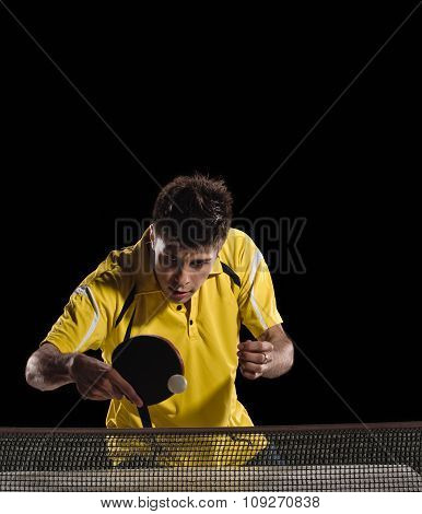 Table tennis player man. concentration