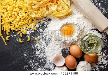 Raw Homemade Italian Pasta And Ingredients