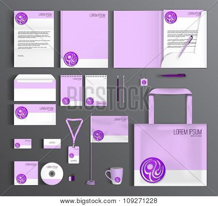 Corporate Identity set with a purple circle.