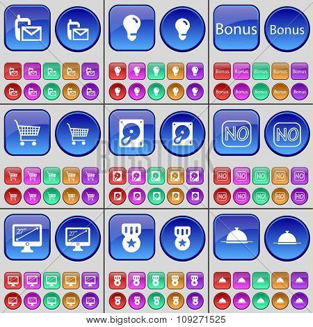 Sms, Light Bulb, Bonus, Shopping Bag, Hard Drive, No, Monitor, Medal, Tray. A Large Set Of Multi-