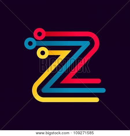 Z Letter Formed By Electric Line.