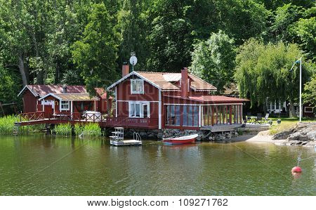Sweden, Picturesque House On A Little Island Near Stockholm