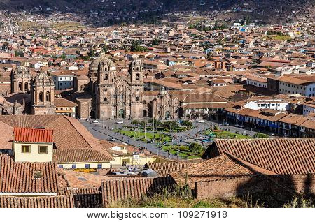 Aerial View Of The Main Square In Cusco, Peru