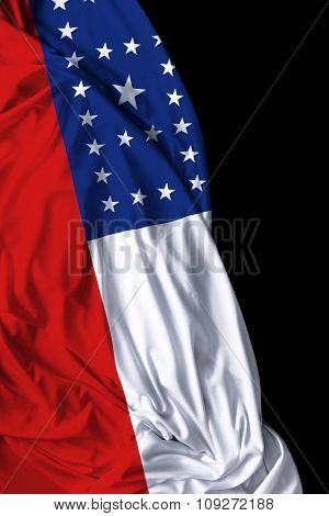 Amazonas waving flag on black background