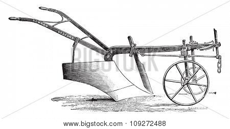Plow Messrs Howard deep tillage, vintage engraved illustration. Industrial encyclopedia E.-O. Lami - 1875.