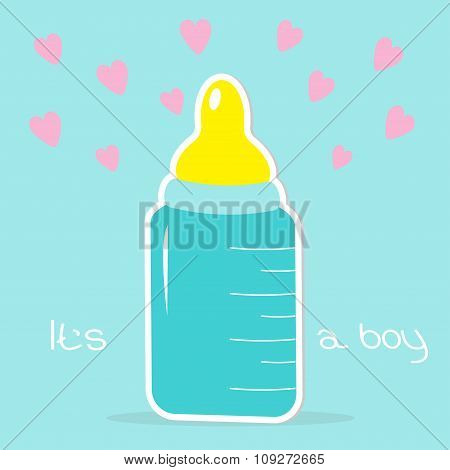 Baby Boy Bottle. Hearts. Shower Card