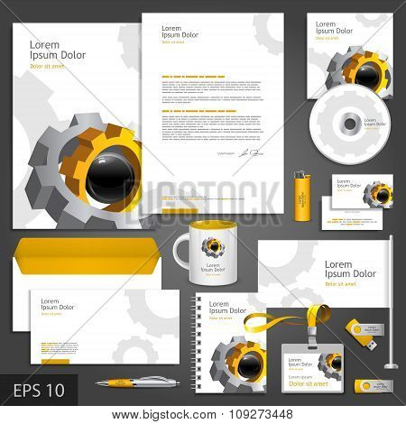 Corporate identity template with cogwheel