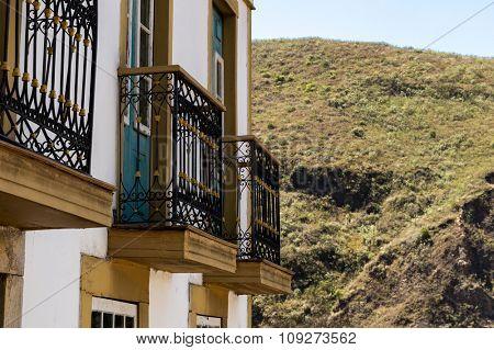 Colonial houses in Ouro Preto in Minas Gerais, Brazil