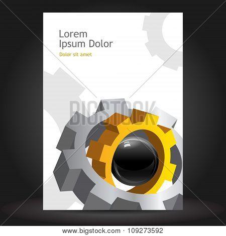 Brochure template design with cogwheel