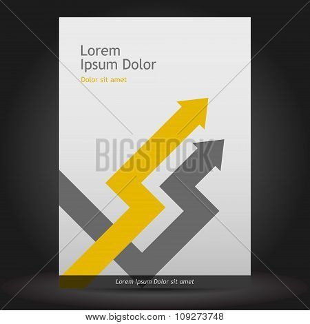 Gray brochure template design with arrows