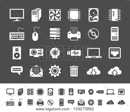Computer and network devices. Clean and simple vector icons for application and websites