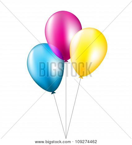 Three balloons isolated on white