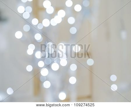 Beautiful Christmas Silver Lights. Defocused Background