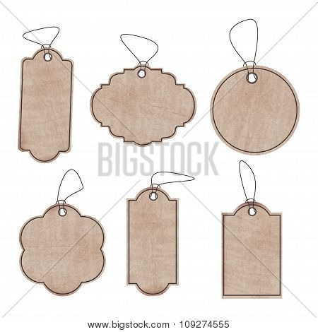 The Set Of Clean Old Paper Labels For The Prices Or Discounts Of The Six Different Shapes In Your De