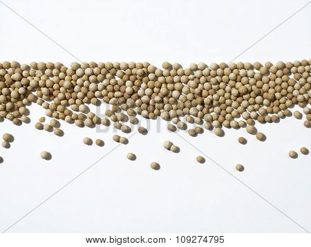 Small granules lined up. Underlined.