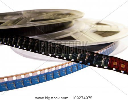 Two Film rolls with two films. Cinema movie concept