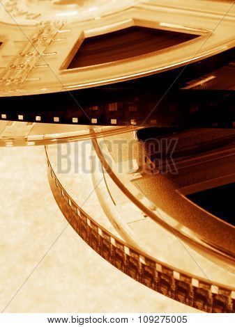 Two Film rolls with two films.Cinema concept