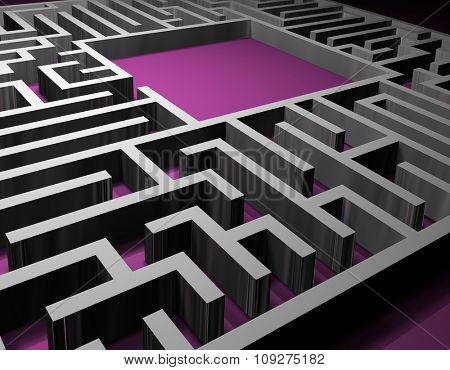 Maze. 3D render of Labyrinth. Puzzle concept for finding a solution