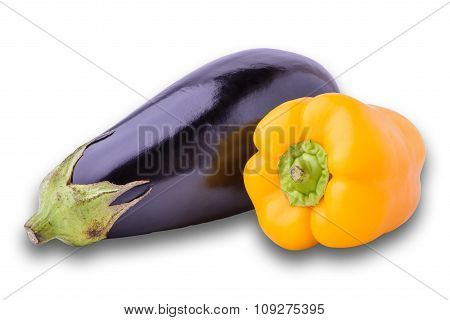 Fresh Eggplant And Yellow Pepper