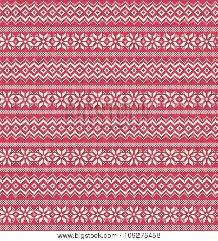Seamless Winter Holidays Nordic Ornament Pattern Isolated on Pin