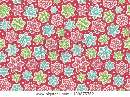 Bright Fun Seamless Christmas Winter Pattern with Snowflakes Iso