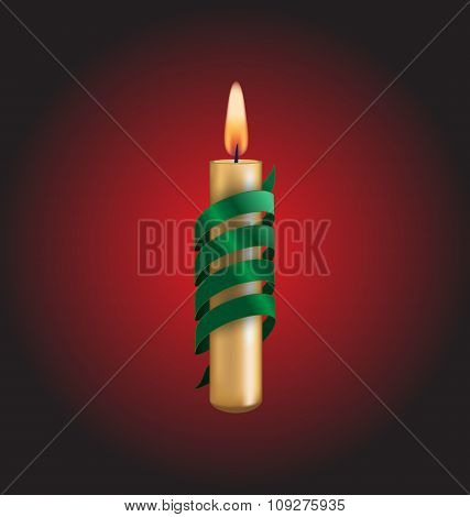 Candle with green spiral tape on red