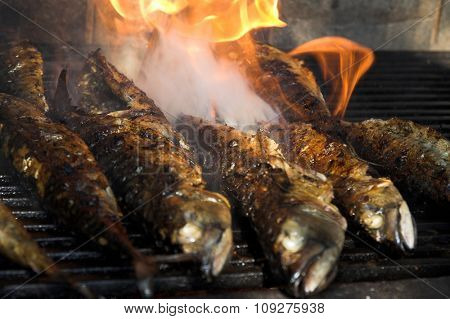 Fish barbecue. Baked fish on the grill, fish on fire