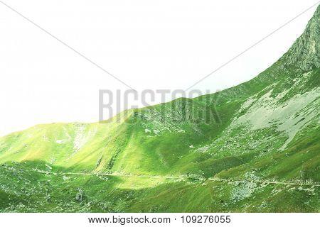 Steep mountain. Go up up the sky
