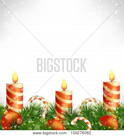 Christmas candles with balls, candy and pine on grayscale
