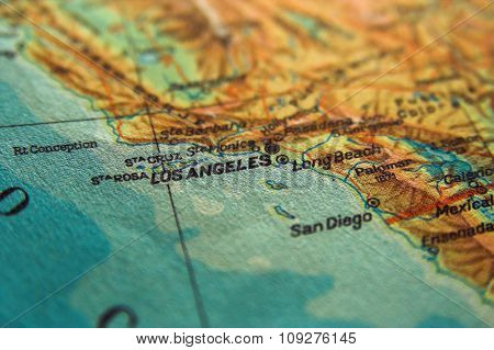 US map with Los Angeles in focus. Los Angeles City concept