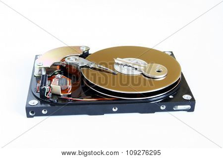 Opened Hard disk. Data security. Secure storage medium concept