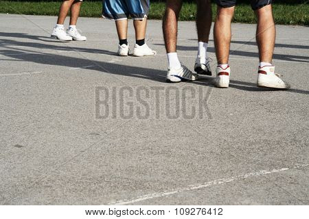 Street Basketball game. Basketball players