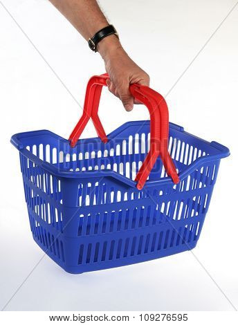 Isolated shopping basket. Hand hold Shop or market basket.
