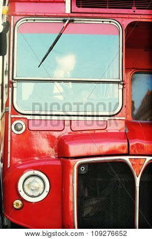 Driver in red london bus. Double decker England bus