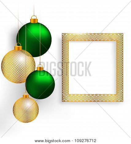 Christmas balls with frame on grayscale