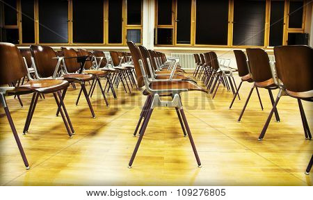 Empty classroom. Colorful room
