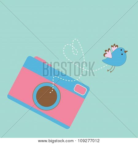Photo Camera With Flying Bird.  Love Card