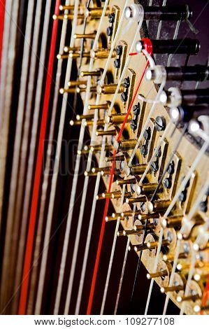 Harp strings close up. Classic music concept