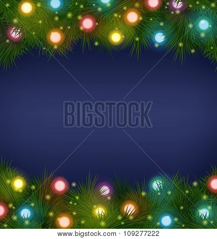 Christmas lights on pine on blue