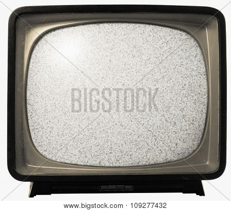 Old TV with noise on screen. Retro Television concept. No signal